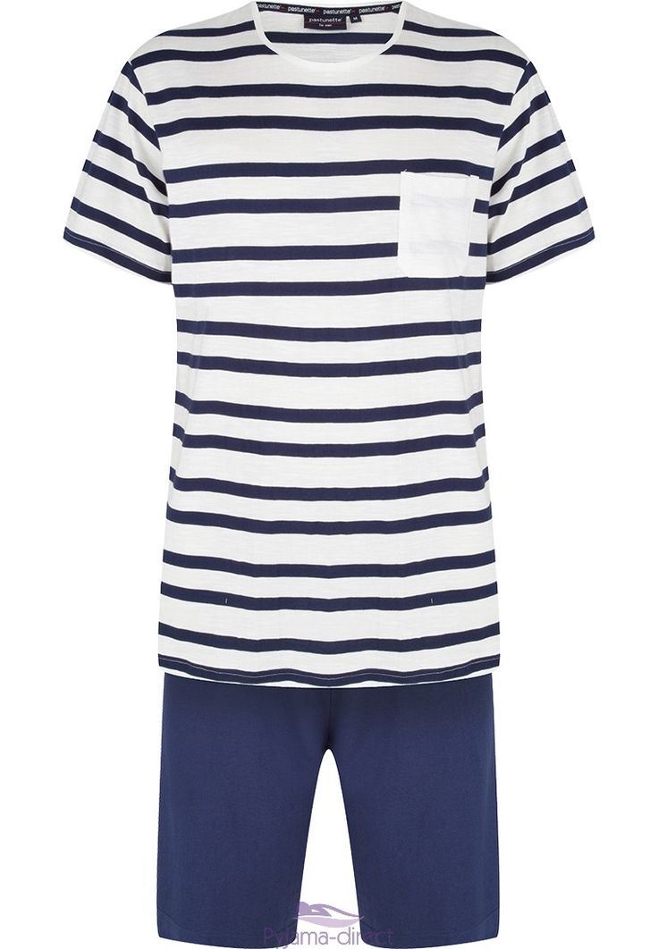 Get on trend & relax morning or night in this Pastunette for Men white & blue 'sailor stripes' striped short set