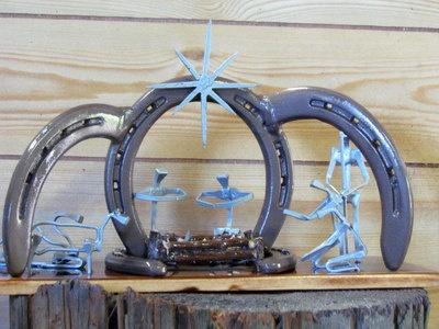 Handcrafted Horseshoe Nail Art Nativity Scene