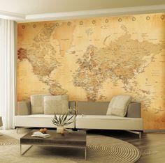 """Old Map Wallpaper Mural Wallpaper Mural at AllPosters.com 124x91"""" 79.99"""