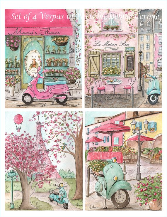This listing is for the set of 4 of my popular Vespas In Paris. These adorable prints are perfect for your little girls Paris themed bedroom or