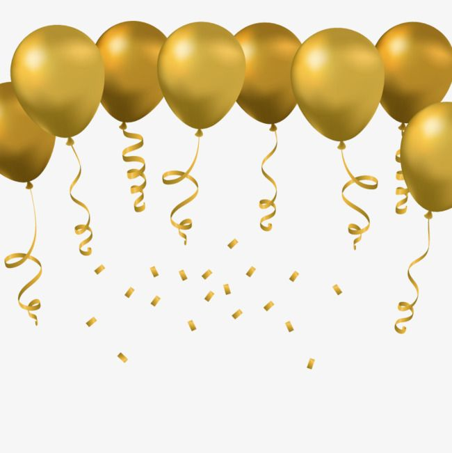 Vector Golden Balloon Colored Ribbon Festival Decoration Png