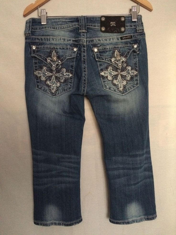 Womens Miss Me Capri Cropped Jeans Sz 28 Crystal Cross Flap Pocket JP5335P6  #MissMe #CapriCropped
