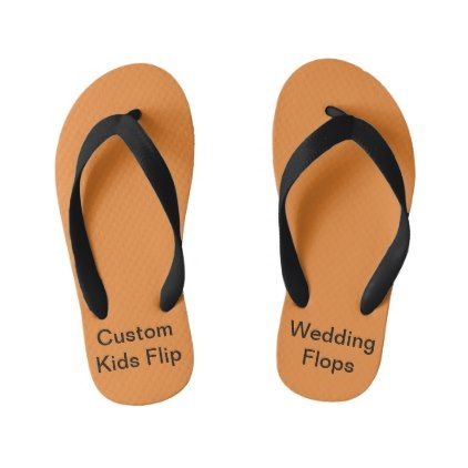Custom Wedding Kids Orange Flip Flops - kids kid child gift idea diy personalize design