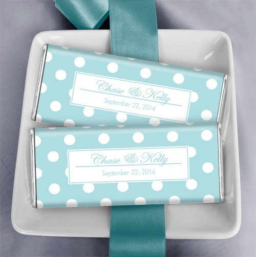 Chocolate Party Favors in Tiffany Blue: Custom chocolate wedding favors ares perfect additions to your wedding candy buffet
