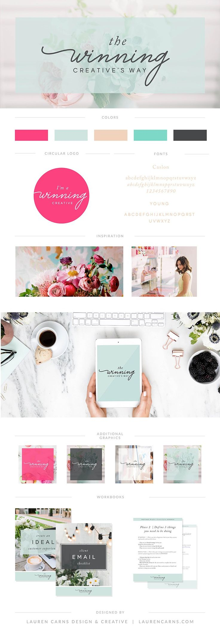 Winning Creatives Way Brand Board | Course branding | Lauren Carns Design and Creative | colorful branding, course design, fresh attractive branding