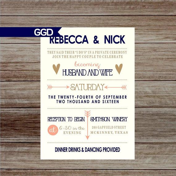 Boho Chic Wedding Reception Invitations Only Wreath Invite Navy Blush Gold Printed Or Digital
