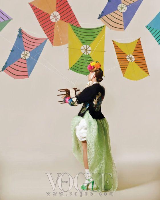 Modern Hanbok in Korean Vogue.