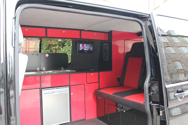 Moore's Custom Campers Full Campervan Conversion in Black and Red Gloss on VW T5 SWB For Sale