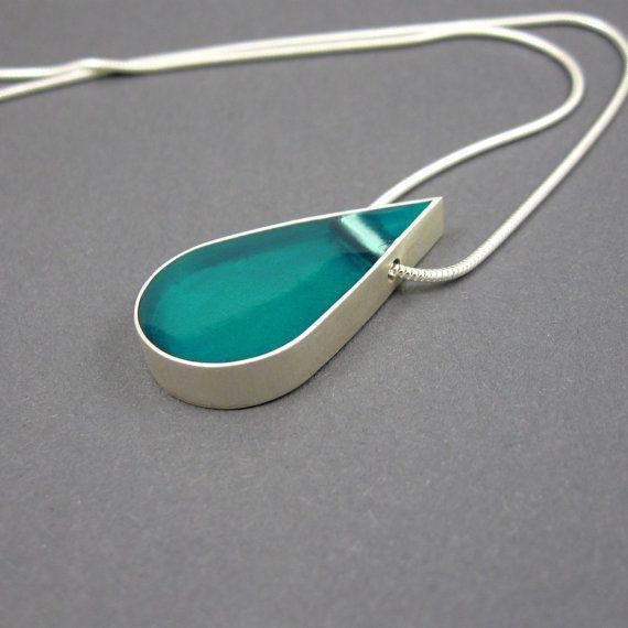 Collar de resina, aqua gota colgante, plata esterlina sólida, cadena de la…