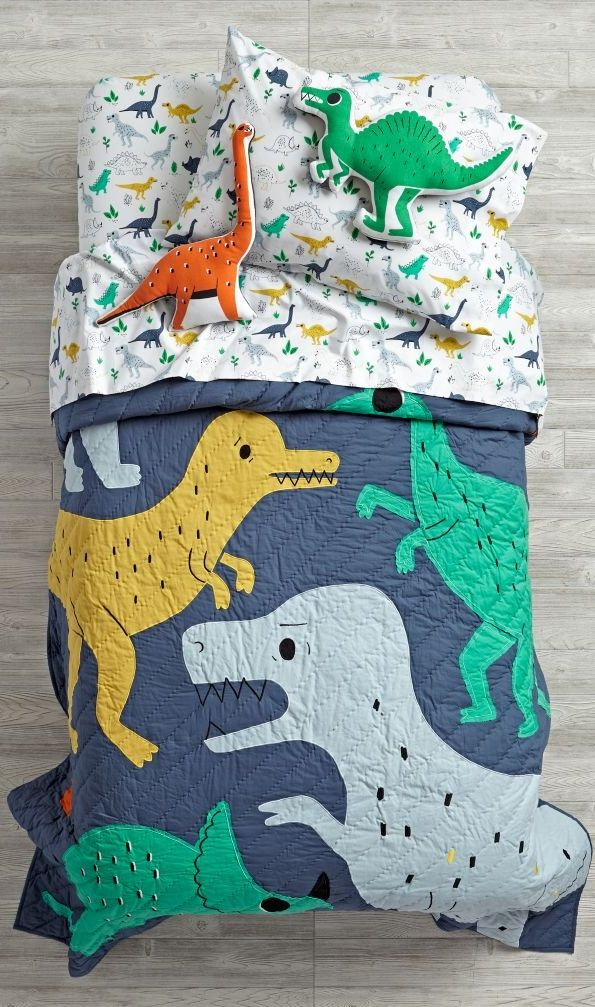 How old-school are we? We were into reptiles before they were cool. In fact, they used to be called dinosaurs. And this exclusive dinosaur bedding is covered with appliqued dinos, as well as tons of embroidered accents. Round out the look with the 100% cotton duvet and printed sheet set.