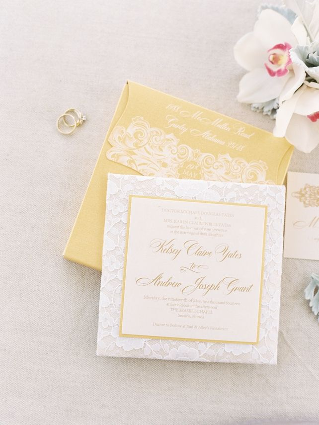 custom wedding invitations nashville%0A Soft and romantic seaside wedding was the feel for this lace wedding  invitation