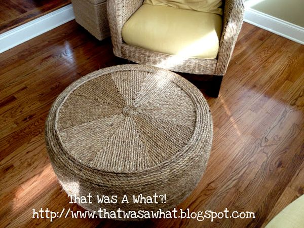 Rope ottoman made from an old tire    http://www.modhomeec.com/2012/08/30/creative-re-use-rope-tire-ottoman/#