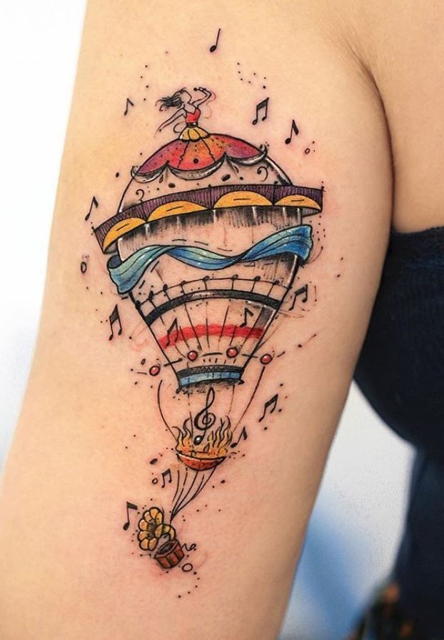 Musical Balloon Tattoo Tattoo Artists Balloon Tattoo Cool Tattoos
