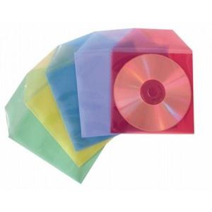 Pack de 50 fundas en polipropileno colores para CDs y DVDs Medidas: 127 x 127 mm. con solapa Colores traslúcido surtidos