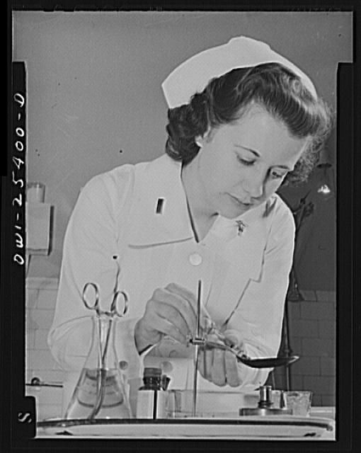 Washington, D.C. Now a full-fledged graduate nurse, Second Lieutenant Frances Bullock has entered Walter Reed Hospital where she will contribute towards the winning of the war by nursing America's wounded