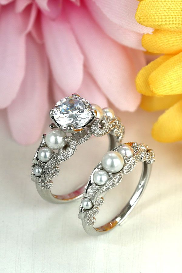 Pearl Round White Cubic Zirconia Women S Wedding Ring Set In 925 Sterling Silver Wedding Rings Round Wedding Rings For Women Womens Wedding Ring Sets