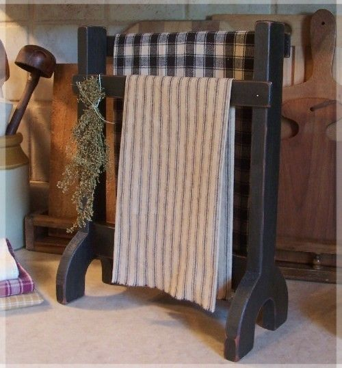Love this idea - will be making for sure !! Primitive Towel or Dry Rack Farmhouse Kitchen or Bathroom