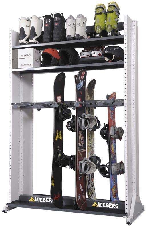storage rack for skis, snowboard(s), helmets, and maybe skates & ski/snowboard boots (remember that skis are much taller than snowboards, might not have enough room for shelf on that part DON'T FORGET ABOUT SNOWSHOES!