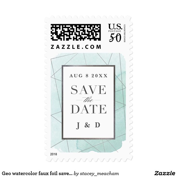 Geo watercolor faux foil save the date stamp A modern, geometric save the date stamp with customizable date and initials. This design features elegant silver facets atop a soft aqua blue watercolor wash background with metallic silver inset frame window for text and large save the date type. #weddings