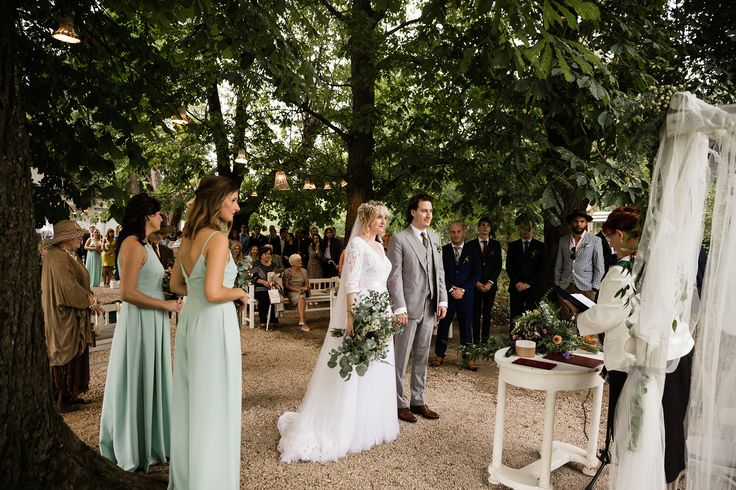 Magical wedding ceremony in the woods