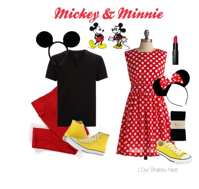Couples Costumes: Mickey & Minnie by ourshabbynest.com   featuring Emily and Fin, Falke, Converse, Calvin Klein, Bobbi Brown Cosmetics, Halloween, disney and couples