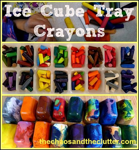 Ice cube tray crayons from broken crayons, terrific for your classroom treasure box