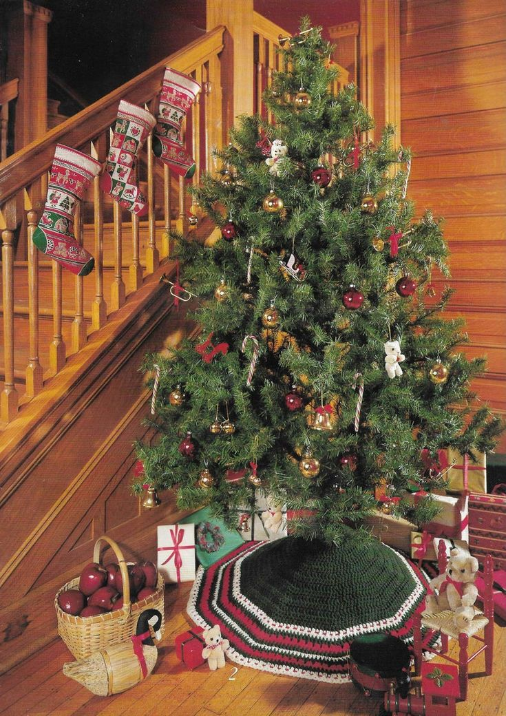 4 CROCHET Tree Skirt Christmas Pattern Tree Base Cover