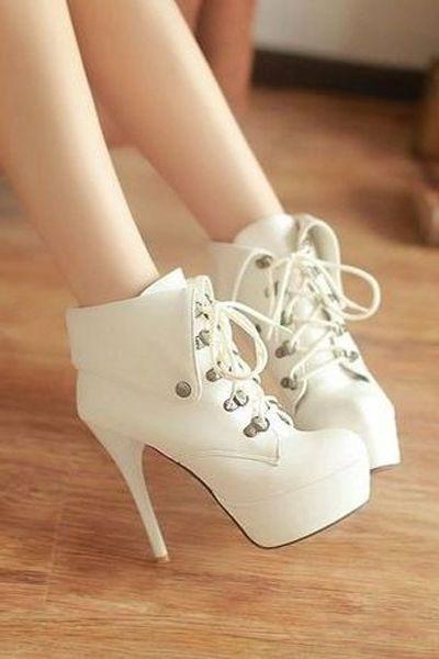 Fashion white high heels shoes 2016 - 2017