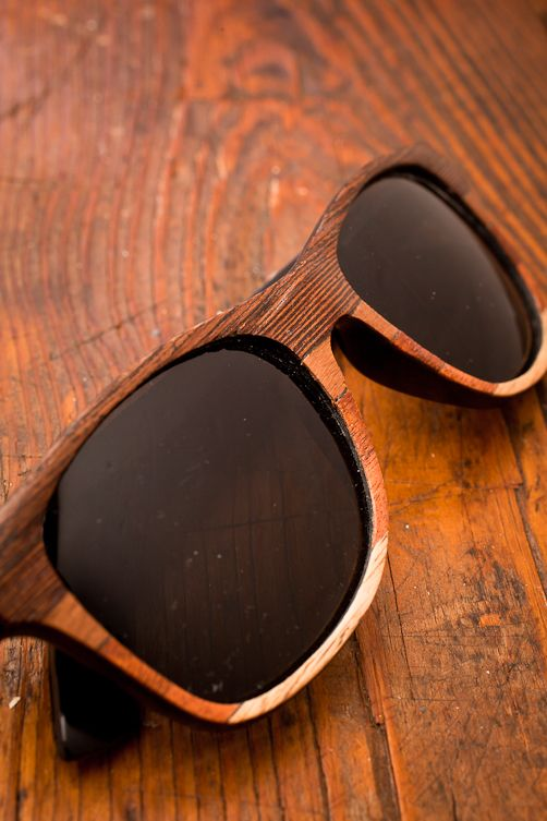 Wood Veneer Ombre Wayfarers by Tumbleweeds Handcraft for Bourbonandboots.com