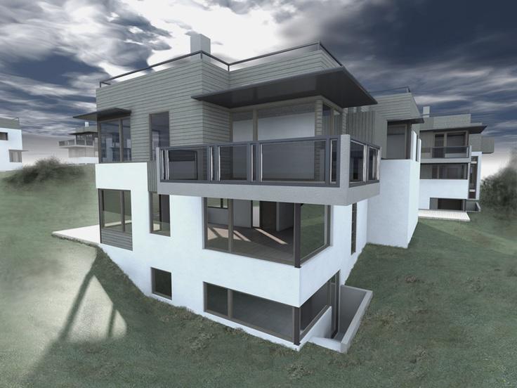 Wizualizacja osiedla domów jednorodzinnych, Norwegia.