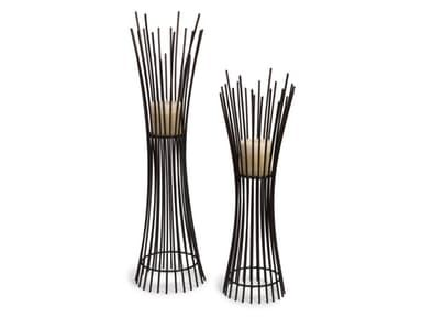 Set of Two Matching Iron Contemporary Candle holders with Dramatic Vertical Lines From Floor to Base.