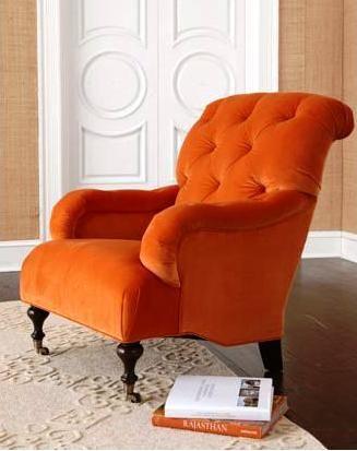 LIVING ROOM - little orange reading chair