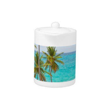 Tropical Beach with Palm Tree Teapot - summer gifts season diy template ideas