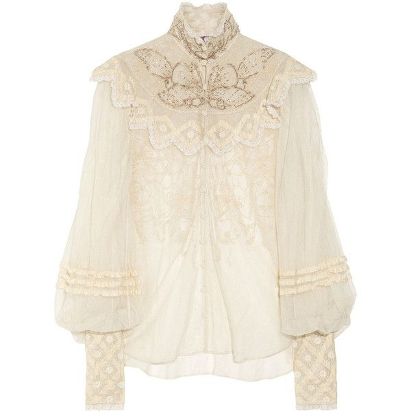 Ralph Lauren Collection Therese embellished silk-tulle blouse ($1,155) ❤ liked on Polyvore featuring tops, blouses, shirts, blusas, ruffle blouse, sheer long sleeve shirt, long-sleeve shirt, silk blouses and loose long sleeve shirt