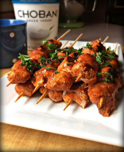 Buffalo Chicken Bite Skewers with Blue Cheese Chobani Greek Yogurt Dip. Lighten up a tailgating classic.