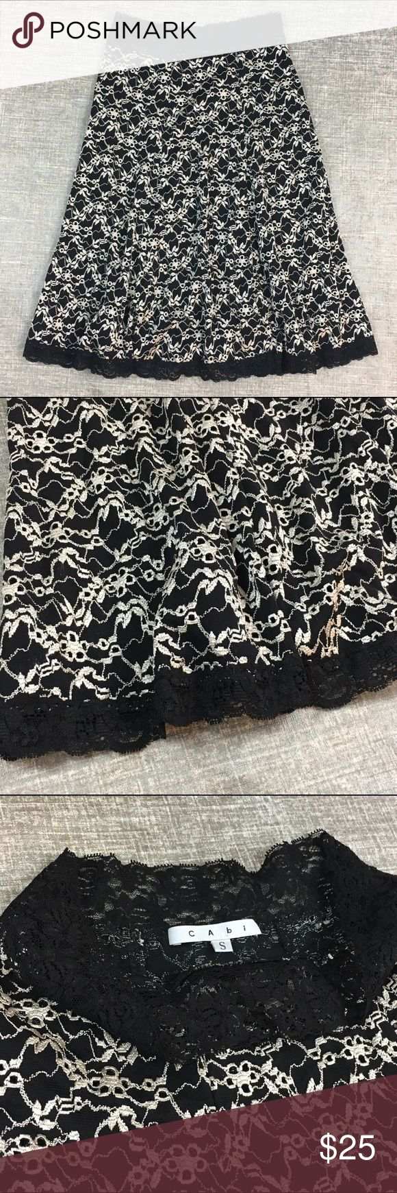 """CAbi Black White Lace Embroidered Floral Mid Skirt CAbi black & white lace fit and flare skirt. Black body with soft white embroidery details. Elastic stretch waistband with a skater flowy style. Excellent condition! No flaws. 26"""" waist and 24"""" length. CAbi Skirts Circle & Skater"""