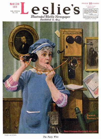 """""""The Party Wire"""" 3/22/1919 by Norman Rockwell for Leslie's Illustrated Weekly Newspaper, cover"""