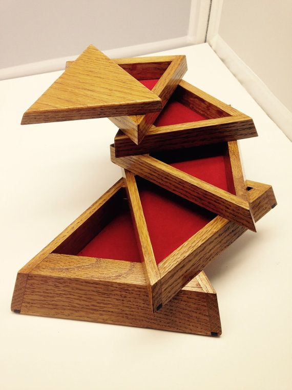 Unique Wooden Handmade Triangle Jewelry/Trinket box--woodwonders15 on etsy