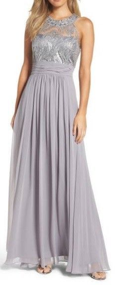 182564dc90f Eliza J Silver Gown Mother of The Bride Sequin Bodice Ruched Formal Dress  NWT  Dress