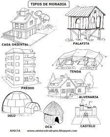 Atividades ,Modelos de Casas,  casas para montar , casa para recortar, molde de casa para montar, casinha para recortar e colar , atividades...