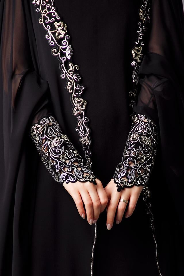 Silver and black lace cuffs abaya