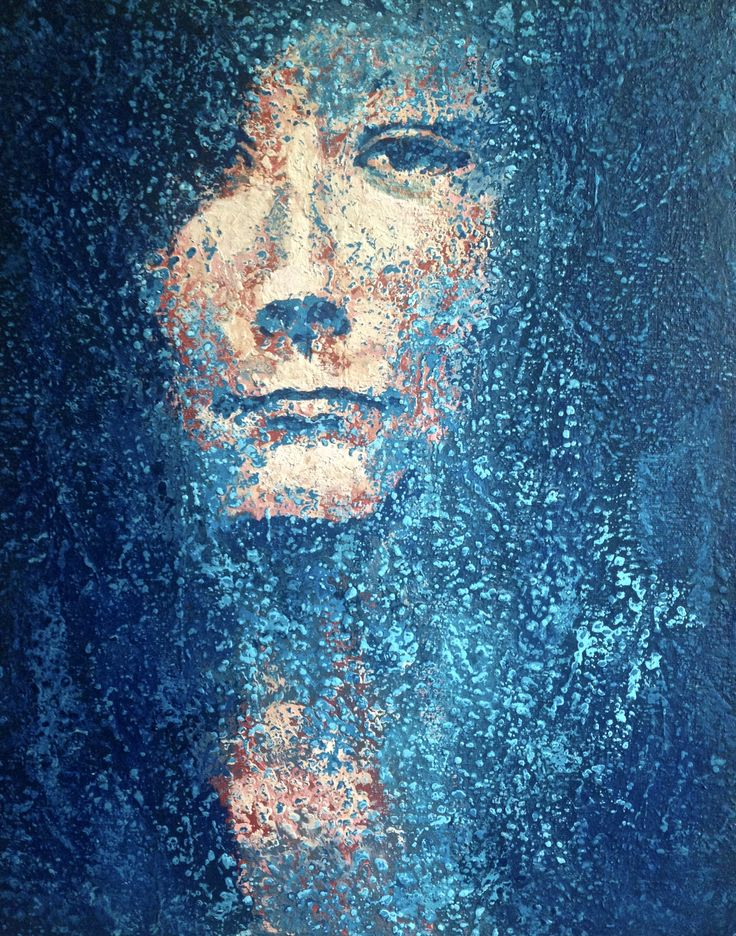 MEMORY I look into the eyes of the past, and she looks at me and is mocking. #art #contemporaryart #painting #woman #portrait #modern #modernart #polishart #canvas #acryliconcanvas #blue