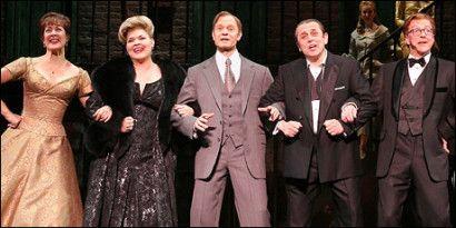 David Hyde Pierce (center) with Karen Ziemba, Debra Monk, Michael McCormick and Edward Hibbert in <i>Curtains</i>.