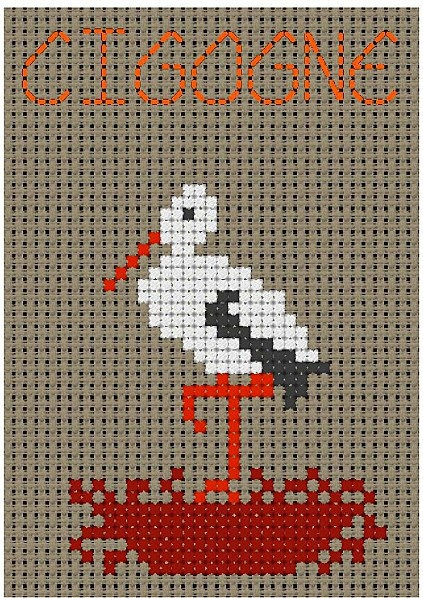 free cross stitch egret