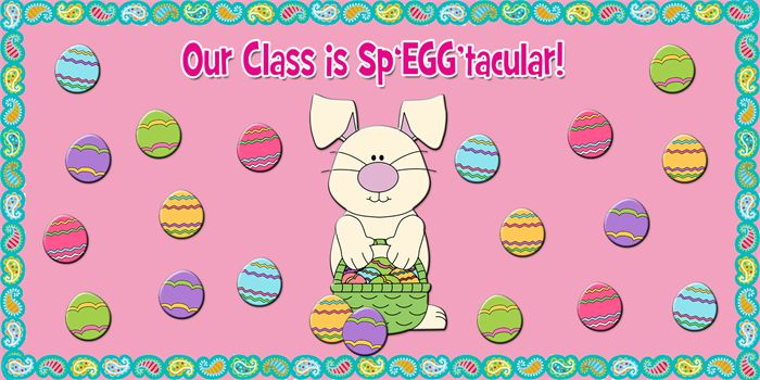 Cute Easter egg and bunny bulletin board idea! http://www.mpmschoolsupplies.com/ideas/4758/our-class-is-speggtacular-easter-bulletin-board/