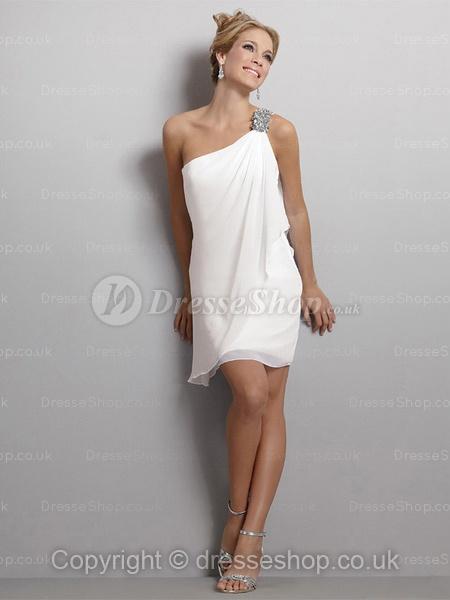 Sheath Column One Shoulder Chiffon Short Mini Bridesmaid Dress