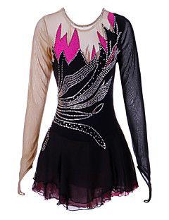 Vestido+de+patinaje+artístico+Mujer+Chica+Patinaje+Sobre+Hielo+Vestidos+Negro+Licra+Pedrería+Alta+elasticidad+Rendimiento+Ropa+de+Patinaje+–+EUR+€+205.15