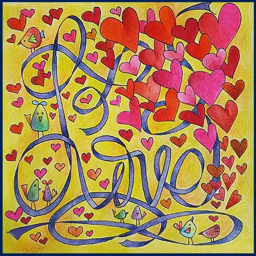 A Valentine's Day Coloring Card designed and colored by Betty Hung