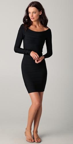 herve leger long sleeve cocktail dress