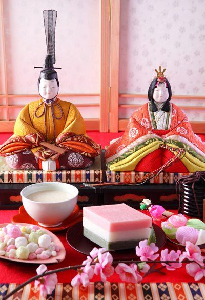 "[Hinamatsuri] March 3rd is a girl's day called ""Hinamatsuri"" here in Japan. It's also called ""Momo no sekku"". We display a set of hina dolls called ""Hina ningyou"" and pray for girl's happiness and healthy growth."